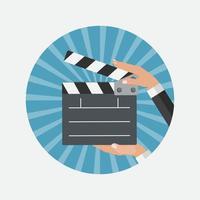 Abstract Cinema Clapper Flat Symbol Icon. vector