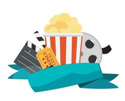 Abstract Cinema Flat Background with Reel, Old Style Ticket vector