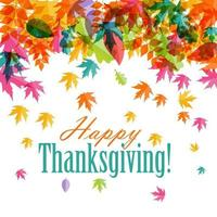 Happy Thanksgiving Day Background with Shiny Autumn Natural Leaves vector