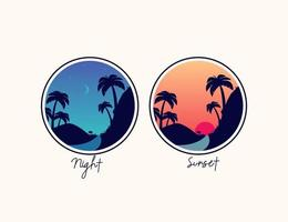 Sunset and night mountain hill with palm tree illustration logo vector