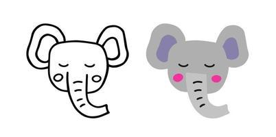 Cute head elephant. Sketch style. Flat hand drawn vector illustration.