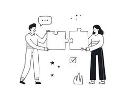 Teamwork hand drawn vector linear illustration. Business concept.