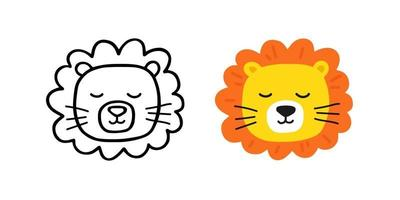 Cute head lion hand drawn. Sketch style. Vector illustration.