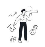 Businessman with a spyglass telescope. Doodle vector illustration.