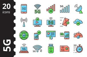 5G technology icons set. New mobile network, high speed connection. vector