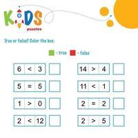 True or false. Comparing numbers printable math worksheet vector