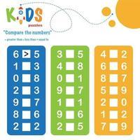 Comparing numbers printable math worksheet vector