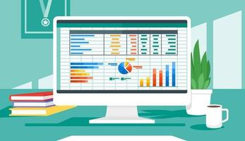 Accounting Program On Computer Screen vector