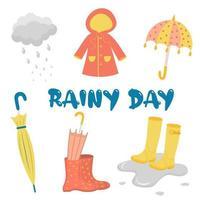 día lluvioso con paraguas, botas, impermeable y nubes. vector