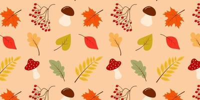 Seamless pattern of autumn leaves, mushrooms and rowan. vector