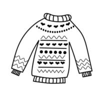 Cozy knitted sweater with pattern in doodle style. vector