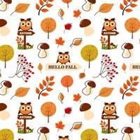 Seamless pattern of autumn leaves, mushrooms, owl, rowan and tree. vector