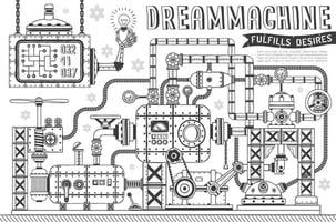 Fantastic machine in doodle style vector