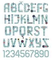 Steampunk alphabet. Letters from vector