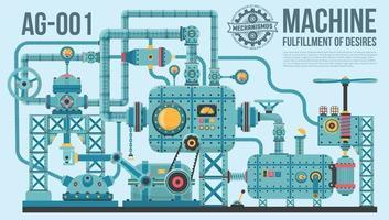 una compleja máquina industrial de tubos vector