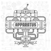 Steampunk machinery engineer robotic composition vector