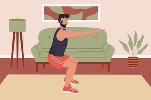 A young man does squats. vector