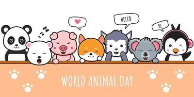 Happy animal celebration world animal day banner icon illustration vector