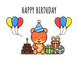 Happy cute tiger birthday greeting card icon cartoon illustration vector