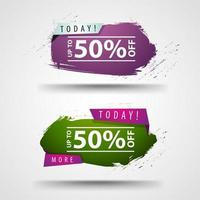 Today, up to 50 off, discount banners in abstract cloud shapes vector