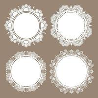 Elegant white lace frame on brown background 3 vector