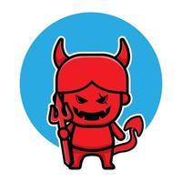 lindo personaje de dibujos animados de halloween del diablo rojo vector