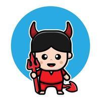 lindo diablo personaje de dibujos animados de halloween vector