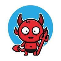 lindo bebé diablo personaje de dibujos animados de halloween vector
