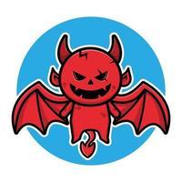 lindo diablo volador personaje de dibujos animados de halloween vector
