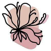 Flower vector one line art, minimalist contour hand drawing