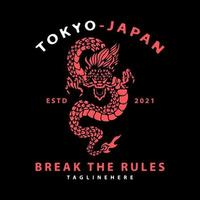 Japanese dragon with break the rules typography. for t shirt vector