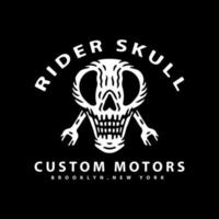 skull and wrench with rider skull typography. illustration for t shirt vector