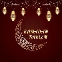 poster ramadan kareem gold color gradient brown background photo