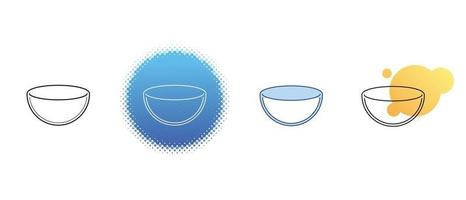 This is a set of contour and color salad bowl icons vector