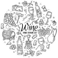 Vector set with wine and cheese in Doodle sketch style.