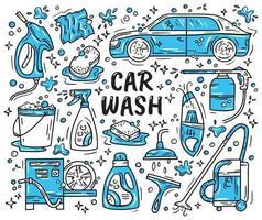 Car wash and detaling set of icons vector