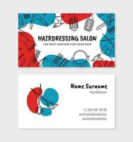 Hairdressing and barbershop visit card for printing vector