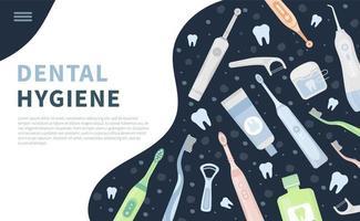 Oral dental cleaning hygiene tools landing banner vector