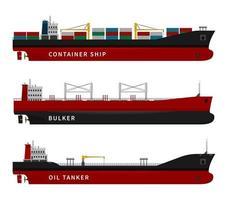 Oil tanker, container ship, bulker isolated set. vector