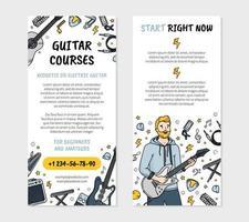 Guitar courses music school flyer in Doodle style vector