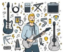 Guitar musical instruments set in Doodle style vector