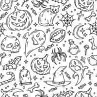 Halloween seamless pattern with magic icons in doodle style vector