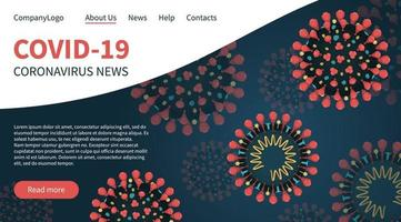 Red coronavirus COVID-19 on landing page banner vector