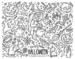 Halloween set of vector icons in doodle style, horror magic symbols
