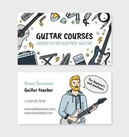 Guitar courses or music school Doodle visit card vector