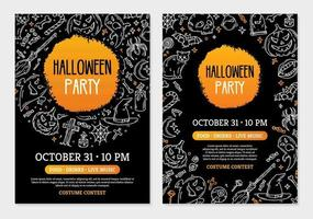 Halloween party invitation cards with magic symbols template vector