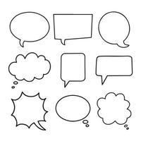 Speech bubbles hand drawn collection. Simple empty dialog boxes set. vector
