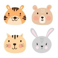 Set of cute animal faces. Sweet tiger, bear, cat, bunny portrait pack. vector