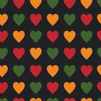 Black History Month, Juneteenth, Kwanzaa seamless pattern with hearts vector