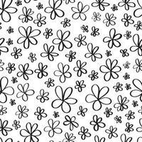 Simple ditsy black ink outline flower doodles seamless pattern vector